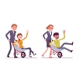 Business people pushing men in the wheelbarrow vector image