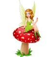 cartoon fairy sitting on mushroom vector image