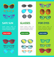 cartoon glasses and sunglasses banner vecrtical vector image vector image