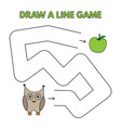 cartoon owl draw a line game for kids vector image vector image
