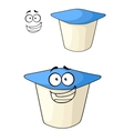 Cheeky cartoon yoghurt with a happy smile vector image vector image