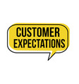 customer expectations speech bubble vector image vector image
