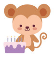 cute and little monkey with sweet cake vector image