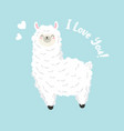 cute cartoon lama doodle character vector image vector image