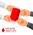 donate blood save life medical and healthcare vector image