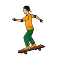 drawing young guy riding a skateboard with cap vector image vector image