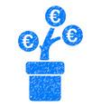 euro tree pot icon grunge watermark vector image vector image