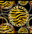 fashion seamless pattern with golden chains and vector image vector image