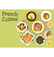 French cuisine snacks and salads icon design vector image vector image