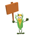 Funny Corn with Wooden Sign vector image