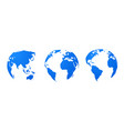 globe earth world map 3d blue transparent vector image vector image