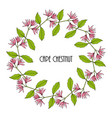 greeting card template with round frame wreath of vector image vector image