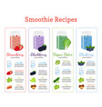 healthy smoothie recipes - berries detox milk vector image vector image