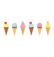 icecream in waffle cone cute popsicle set ice vector image