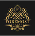 letter f logo - classic luxurious style logo vector image vector image