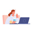office woman sick sad student at computer tired vector image vector image