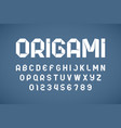 origami style modern font folded paper ribbon vector image