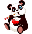 Panda eating rice vector image vector image