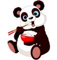 Panda eating rice vector image
