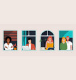 people at windows concept vector image