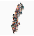 people map country Sweden vector image