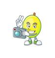 photographer gomotega fruit healthy in cartoon vector image vector image