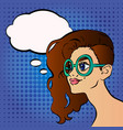 pretty girl in glasses cartoon vector image