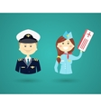 Professions- pilot and flight attendant vector image
