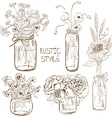 Set of mason jars with flowers vector image vector image