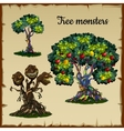 Set of trees and tree monster with dragon heads vector image vector image