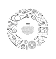 Sewing kit round frame vector image