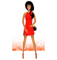 Sexy girl standing in a beautiful red dress vector image