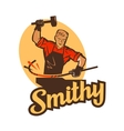 smithy blacksmith label and logo vector image vector image