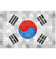 south korea flag made of puzzle background vector image