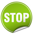 stop round green sticker isolated on white vector image vector image