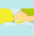 Summer concept paper cut web banner template sea