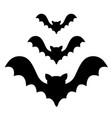 three bat flying black silhouette icon set cute vector image vector image