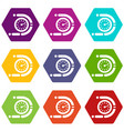 timer icons set 9 vector image vector image