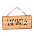 vacancies wooden board vector image vector image
