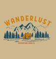 wanderlust hand draw wild mountain landscape vector image
