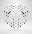 Wireframe polygonal element 3D cube with lines and vector image