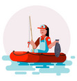 woman in boat with fish vector image vector image