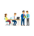 worker with laptop chief talking to employee vector image vector image