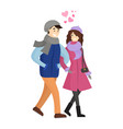 young couple in winter cloth vector image