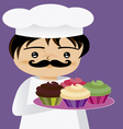 chef with cupcakes vector image