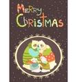 Greeting card polar bear family celebrating vector image