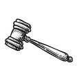 cartoon image of judge gavel icon law symbol vector image