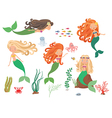Sea collection Mermaids and sea animals on a white vector image
