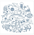 Concept Set of sea animals fish Outline line vector image