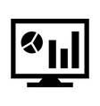 analytics on screen glyph black icon vector image vector image
